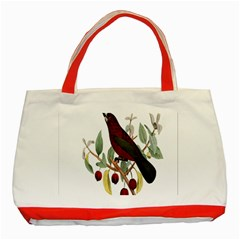 Bird On Branch Illustration Classic Tote Bag (red)