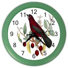 Bird On Branch Illustration Color Wall Clocks