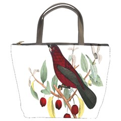 Bird On Branch Illustration Bucket Bags