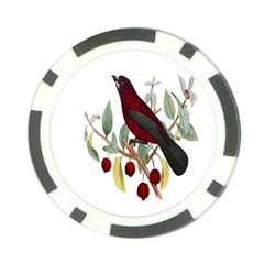 Bird On Branch Illustration Poker Chip Card Guard (10 Pack)