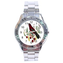 Bird On Branch Illustration Stainless Steel Analogue Watch