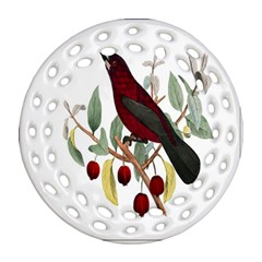 Bird On Branch Illustration Round Filigree Ornament (Two Sides)