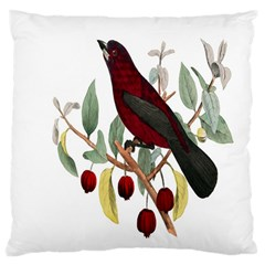 Bird On Branch Illustration Large Cushion Case (two Sides)