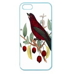 Bird On Branch Illustration Apple Seamless Iphone 5 Case (color)