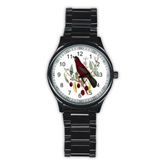 Bird On Branch Illustration Stainless Steel Round Watch