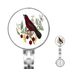 Bird On Branch Illustration Stainless Steel Nurses Watch