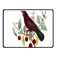 Bird On Branch Illustration Double Sided Fleece Blanket (small)