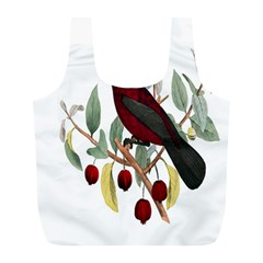 Bird On Branch Illustration Full Print Recycle Bags (l)