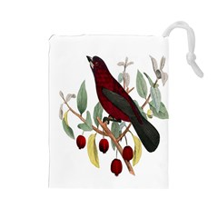 Bird On Branch Illustration Drawstring Pouches (large)