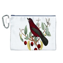 Bird On Branch Illustration Canvas Cosmetic Bag (l)
