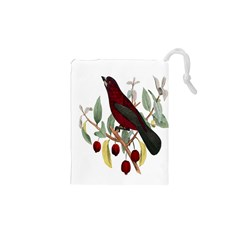 Bird On Branch Illustration Drawstring Pouches (xs)