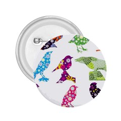 Birds Colorful Floral Funky 2 25  Buttons
