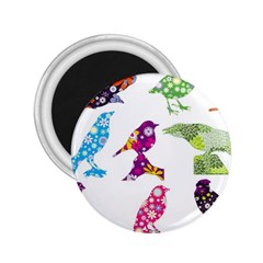 Birds Colorful Floral Funky 2 25  Magnets