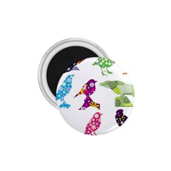 Birds Colorful Floral Funky 1 75  Magnets