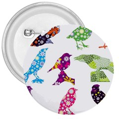 Birds Colorful Floral Funky 3  Buttons