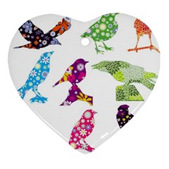 Birds Colorful Floral Funky Ornament (heart)