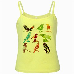 Birds Colorful Floral Funky Yellow Spaghetti Tank