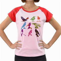 Birds Colorful Floral Funky Women s Cap Sleeve T-Shirt