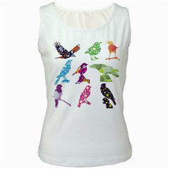 Birds Colorful Floral Funky Women s White Tank Top