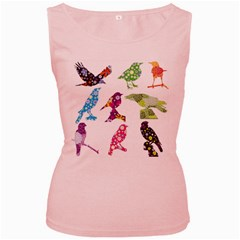 Birds Colorful Floral Funky Women s Pink Tank Top