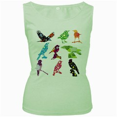Birds Colorful Floral Funky Women s Green Tank Top