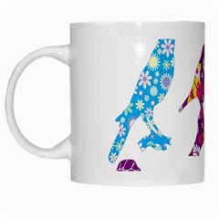 Birds Colorful Floral Funky White Mugs