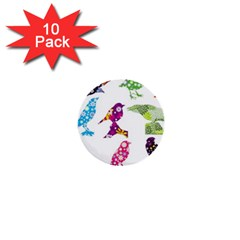 Birds Colorful Floral Funky 1  Mini Buttons (10 Pack)
