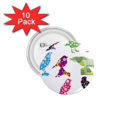 Birds Colorful Floral Funky 1 75  Buttons (10 Pack)
