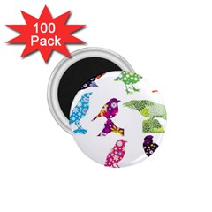 Birds Colorful Floral Funky 1 75  Magnets (100 Pack)