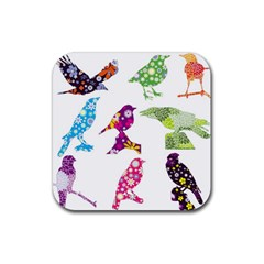 Birds Colorful Floral Funky Rubber Square Coaster (4 Pack)