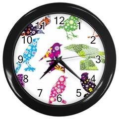 Birds Colorful Floral Funky Wall Clocks (black)