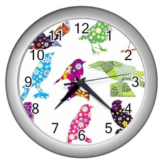 Birds Colorful Floral Funky Wall Clocks (silver)
