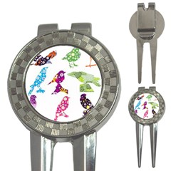 Birds Colorful Floral Funky 3-in-1 Golf Divots