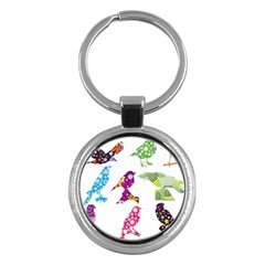 Birds Colorful Floral Funky Key Chains (Round)