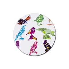 Birds Colorful Floral Funky Rubber Coaster (round)