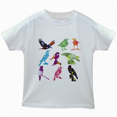 Birds Colorful Floral Funky Kids White T Shirts