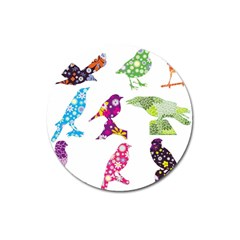 Birds Colorful Floral Funky Magnet 3  (round)