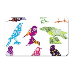 Birds Colorful Floral Funky Magnet (rectangular)