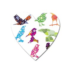 Birds Colorful Floral Funky Heart Magnet