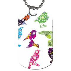 Birds Colorful Floral Funky Dog Tag (one Side)