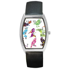 Birds Colorful Floral Funky Barrel Style Metal Watch