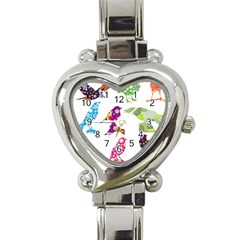 Birds Colorful Floral Funky Heart Italian Charm Watch