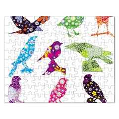 Birds Colorful Floral Funky Rectangular Jigsaw Puzzl