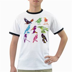 Birds Colorful Floral Funky Ringer T Shirts