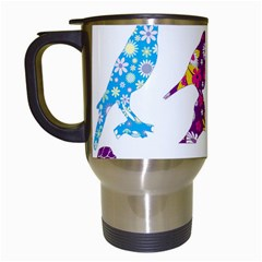Birds Colorful Floral Funky Travel Mugs (white)