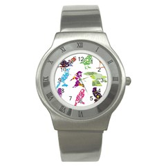 Birds Colorful Floral Funky Stainless Steel Watch