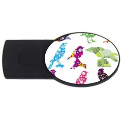 Birds Colorful Floral Funky Usb Flash Drive Oval (4 Gb)