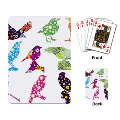 Birds Colorful Floral Funky Playing Card