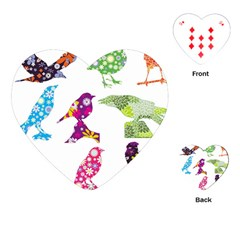 Birds Colorful Floral Funky Playing Cards (heart)
