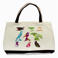 Birds Colorful Floral Funky Basic Tote Bag